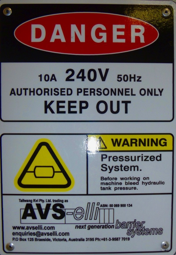 AVS-elli equipment Warning Label